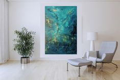 Star dust – XL blue abstract painting Blue Abstract Painting, Abstract Paintings, Different Light, Shades Of Blue, Primary Colors, Minimalist, Tapestry, Stars, Artist