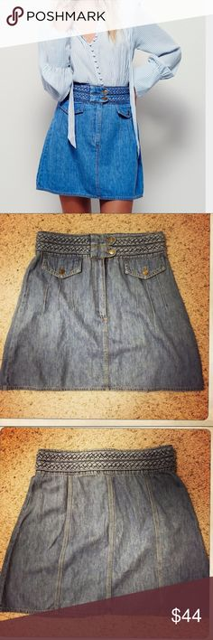 "Free People Denim Skirt with Braided Waist Never worn! 70's style high waisted denim skirt. Beautiful detailed braided belt. Size 10. 18"" in length. Free People Skirts High Low"