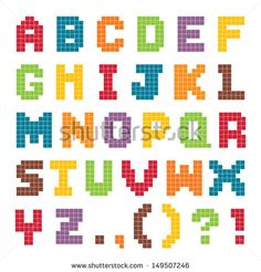 Vector pixel art alphabet set in bright vintage colors isolated on white. Good for scrap booking, school projects, posters, textiles. See my folio for JPEG version and for more alphabets. Melty Bead Patterns, Hama Beads Patterns, Beading Patterns, Pixel Art Alphabet, Alphabet Beads, Modele Pixel, Art Perle, Graph Paper Art, Hama Beads Design