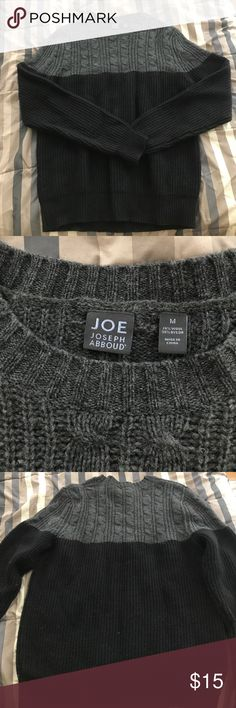 Joseph Abboud Crewneck Sweater    Medium Black and grey crew neck sweater. Upper half is a cable knit design. Only worn a couple times, perfect condition. Make an offer! Macy's Sweaters Crewneck