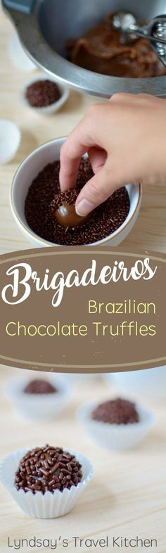 Chocolate Caramel Truffles from Brazil (Brigadieiros). Learn how to make these delicious chocolate truffles from South America. Check out the recipe at www.lyndsaystravelkitchen.com