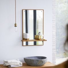 Tikamoon : Line Teak and Marble Wash Unit 40 Wood Mirror Bathroom, Wood Framed Mirror, Mirror With Shelf, Wall Mirror, Bathroom Furniture, Raw Wood Furniture, Storage Mirror, Mirror Cabinets, Vanity Cabinet