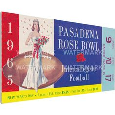 That's My Ticket Michigan Wolverines 1965 Rose Bowl Canvas Mega Ticket, Blue