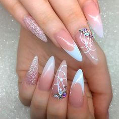 21 Gleaming Rhinestones Nail Perfection For An Incredible Mani: Elegant French Nail Art With Stones Elegant Nails, Stylish Nails, French Nails, Cute Nails, Pretty Nails, Gel Nails, Manicure, Nail Nail, Coffin Nails