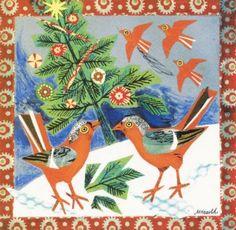 Fine art Christmas card - Festive Finches by Mark Hearld. Christmas greeting card 2012.
