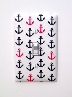 Anchor Light Switch Plate Cover / Nautical Nursery Decor / Navy Blue Hot Pink White / Girls Room via Etsy