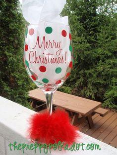 Christmas Preppy Polka Dot Wine Glass-