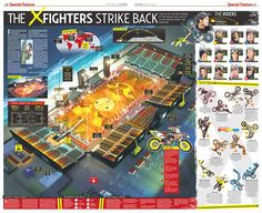 The infographic shows the re-designed venue in Dubai, where the X-figters 2012 season started. Creative Infographic, Infographics, Axonometric View, X Fighter, Information Graphics, Building Structure, Red Bull, Dubai, Journalism