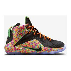 Nike LeBron 12 Fruity Pebbles Release 3/18 - Nikeblog.com ❤ liked on Polyvore featuring shoes, multicolor shoes, black shoes, colorful shoes, nike and nike footwear