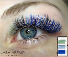 BLUE - TEAL color volume eyelash extensions by me! Using Lash Affair By J. Paris!