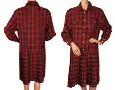 Vintage 80s Red Plaid Pleated Dress  L by VintageFanAttic on Etsy, $60.00