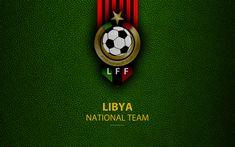 Download wallpapers Libya national football team, 4k, leather texture, Africa, Libyan Football Federation, emblem, logo, Libya, football