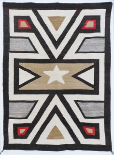 Navajo Crystal Rug With Star Motif C 1930 Shiprock Santa Fe People