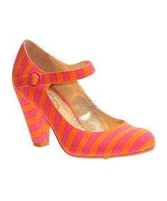 Take a look at this Orange & Pink The Right Stripes Pump by Poetic Licence on #zulily today!