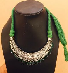 Shop Ethnic German Silver Oxidized Green Thread Necklace by Culturelink online…