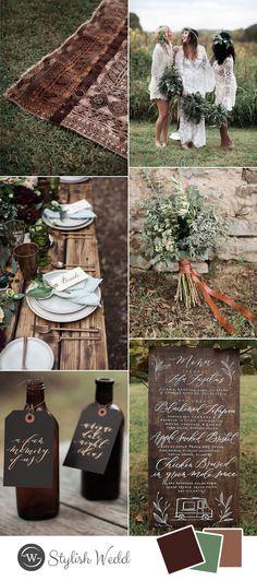 stylish rustic bohemian fall wedding ideas