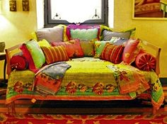 Bohemian Farmhouse Look - Great as a sofa in the living room or as a day bed in the guest room. The chartreuse quilt, topped with multi colored throw pillows has a comfy Boho feel to it. Bohemian Living, Bohemian Decor, Bohemian Style, Bohemian Gypsy, Bohemian Tapestry, Gypsy Style, Boho Chic, Interior Decorating, Interior Design