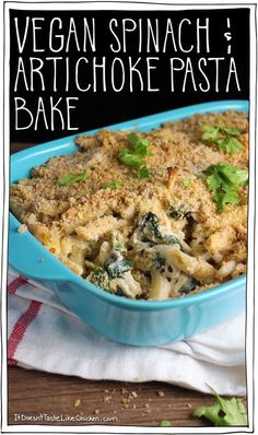 Vegan Spinach & Artichoke Pasta Bake! This is a great dish for an easy weeknight dinner, but it would also be perfect for a big party! The cashews make it so sinfully creamy, an entire large box of spinach is crammed in there (Popeye would be proud), paired with marinated artichokes. We all know those two are a super great match. This pasta tastes just like the classic dip, but it's all disguised as dinner. Healthy, vegan, gluten free option, oil free option…
