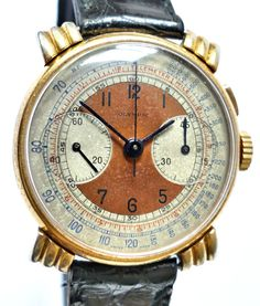Features: Art Deco Oylmpic Vintage Chronograph with Claw Lug Case, Original Two Tone Dial, And Swiss Made, Venus Single Pusher, 45 Minute Counter Movement. Old Watches, Vintage Watches, Watches For Men, Watch Room, Casio Digital, Watch Faces, Chronograph, Tictac, Clock