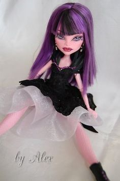 "Ooak Doll Monster High Repaint ""Violette"" BY Alex"