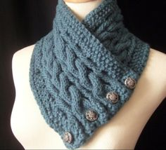 The Reversible Cabled Neckwarmer / In DEEP TEAL/ by yarncoture, $42.00