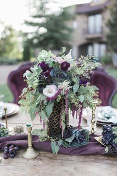 Plum floral centerpiece | Sweetly Vintage Photography | see more on: http://burnettsboards.com/2015/11/aubergine-mint-chateau-wedding/