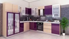 secrets about purple kitchen cabinets 2019 and purple kitchen accessories. We will also tell you about the trends purple kitchen ideas and its combination such as purple and white kitchen decor. Purple Kitchen Cabinets, Kitchen Cabinet Design, Modern Kitchen Design, Interior Design Kitchen, Kitchen Storage, Modern Design, L Shaped Modular Kitchen, L Shaped Kitchen Designs, Wooden Kitchen Set