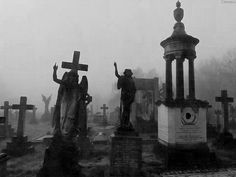 Featuring Gothic Fashion, Dark & Other Creepy Things Cemetery Angels, Cemetery Statues, Cemetery Headstones, Old Cemeteries, Cemetery Art, Graveyards, Magnum Opus, Gardens Of Stone, Dark Places