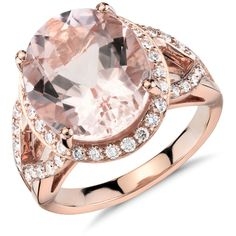 Blue Nile Morganite and Diamond Ring ($2,600) ❤ liked on Polyvore featuring jewelry, rings, blue nile, 18 karat gold jewelry, blue nile rings, oval rings and diamond jewelry