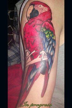 Cute Parrot Tattoo On Half Sleeve Parrot Tattoo, Half Sleeves, Watercolor Tattoo, Tattoos, Cute, Tatuajes, Tattoo, Kawaii, Arm Tattoos