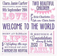 Welcome to the world - meaningful words
