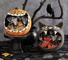 Black Cat & Pumpkin Paper Mache Treat Vessels #pbkids  ........ could DIY with a balloon and paper mache