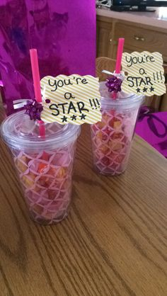 "I made these cute ""You're a star"" tumblers filled with starburst for the two girls i nanny as part of their dance recital gifts. Found the tumblers at target for $3 :)"