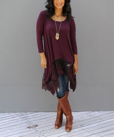 Loving this Cranberry Lace Adadlay Scoop Neck Tunic by  Journey Five