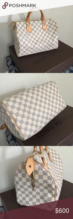 LOUIS VUITTON SPEEDY 30 💯% AUTHENTIC LOUIS VUITTON SPEEDY 30 DAMIER AZUR, COMES WITH KEYS, ORIGINAL BOX AND DUST BAG, IN VERY GOOD CONDITION. I TRY TO MAKE MORE SPACE IN MY CLOSET. LET ME KNOW IF YOU HAVE MORE QUESTIONS ABOUT THIS ITEM. Louis Vuitton Bags Satchels