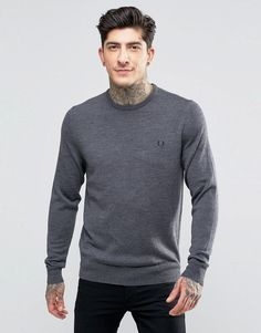 Fred Perry Merino Crew Neck Sweater in Gray - Gray