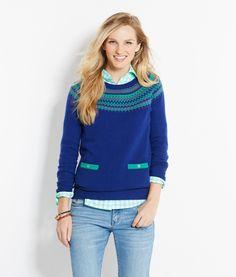 Shop our new Womens's Yoke Fairisle Crewneck Sweater. | Vineyard ...