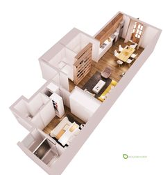The floorplan demonstrates just how compact this concept really is. Note the generous use of sliding doors and panels to save space – even the bedroom closets slide in and out like large vertical drawers.