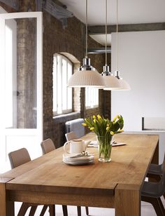 COSMO modern Art Deco pendant with dimpled white bone china shade Dining Table Pendant Light, Lights Over Dining Table, Oak Dining Table, Dining Room Lighting, Dining Area, Kitchen Dining, Kitchen Lighting Over Table, Handmade Kitchens, Bespoke Kitchens
