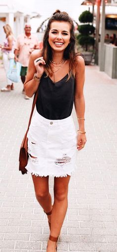 86d9ca03b5 #summer #outfits Black Tank + White Ripped Denim Skirt Ripped Denim Skirts,  Black
