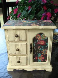 Shabby Chic Upcycled Jewelry Box Painted In A Butter Yellow Color, Distressed…