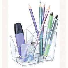 Portalápices organizador de sobremesa de 4 compartimentos. Innovador y elegante. Color transparente cristal.