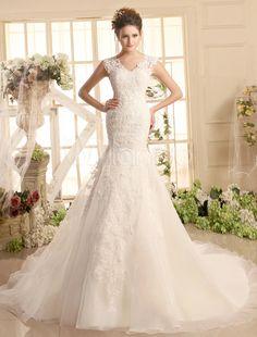 Vestido de noiva sereia em renda marfim com cauda e decote V - Milanoo.com