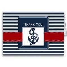 navy stripes, anchor, nautical wedding Thank you Greeting Cards
