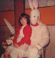 Serial killer or Easter bunny? Not only was this Easter bunny's face not on properly but his mask looked more terrifying than welcoming!