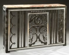 French wrought iron radiator console with marble top, 1930, 69cm H.  |  SOLD 1,200 EUR, Paris 2012