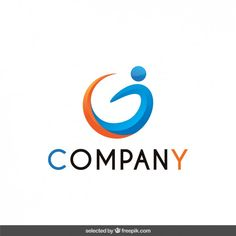 Logo with abstract human form Free Vector