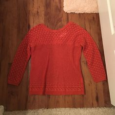 Orange knit anthropologie sweater!!! Only worn once!!! Dark orange knit sweater from anthropologie! Super cute. Large but fits like a medium! The back has a cute little criss cross. Purchased from anthro but the actual brand is sparrow Anthropologie Sweaters Crew & Scoop Necks