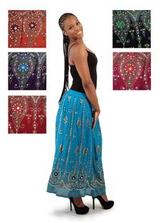 """Inject instant style into any wardrobe with this ethnic print skirt. Beaded accents add a hint of shimmer. One size fits up to 41"""" elastic with drawstring waist, 37"""" long. 100% rayon."""