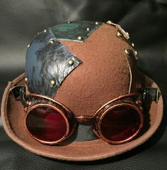 Brown Steampunk Bowler Top Hat, With OOAK Antiqued Mixed Metal And Leather Plate / Patch Design With Pins, Copper Effect Goggles by Steampunkbyben on Etsy